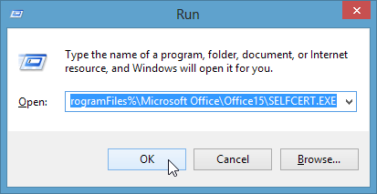 Run-Dialogue-SELFCERT.EXE-path-pasted-in-click-OK