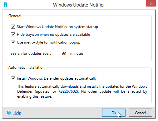My-Windows-Update-Notifier-settings