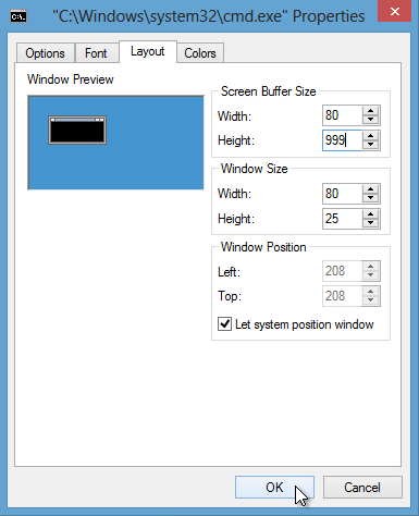 change-Screen-Buffer-Size-to-Height-999-click-OK-button