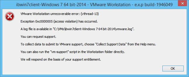 VMware-Workstation-unrecoverable-error-vthread-13-Exception-0xc0000005-access-violation-has-occurred.