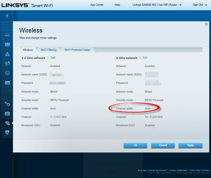 Linksys-EA6900-Wireless-page-highlighting-Channel-width-auto
