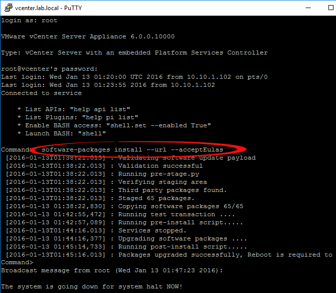 One Command - Packages upgraded successfully, Reboot is required to complete the installation.