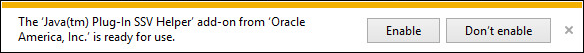 The 'Java[tm] Plug-In SSV Helper' add-on from 'Oracle America, Inc.' is ready for use.