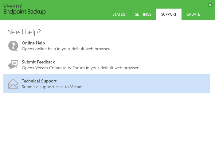 Veeam Endpoint Backup Technical Support Request