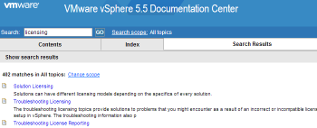 VMware-vSphere-5.5-Documentation-Center-search-for-licensing-has-400-matches