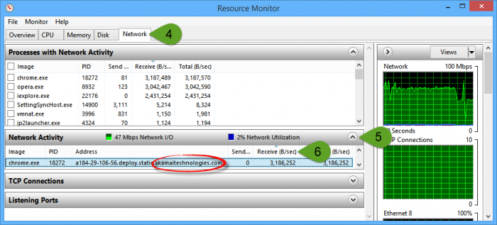 Resource-Monitor-Network-tab-confirms-it-is-using-Akamai-Step-by-Step-clicks