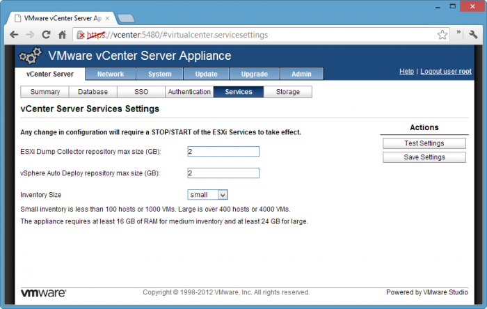 vCenter-Server-Services-Settings