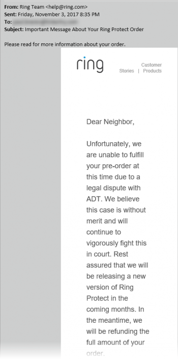Dear-Neighbor-email-from-Ring-about-Ring-Protect-cancel