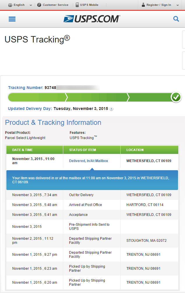 USPS Tracking for 950