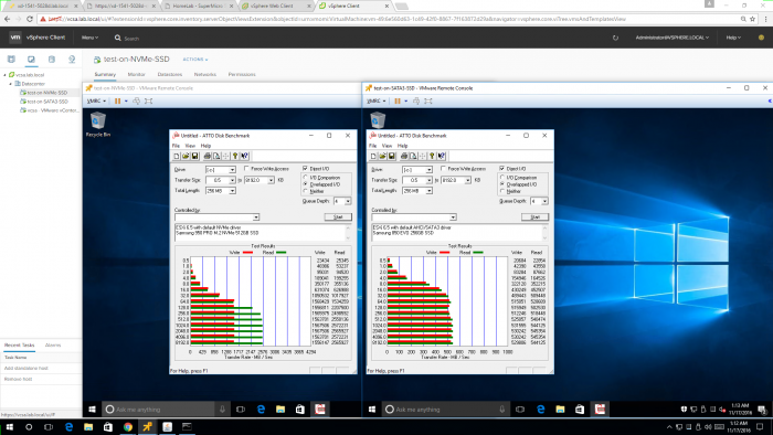 Test results for speed tests of NVMe versus SATA3 on Xeon D-1541