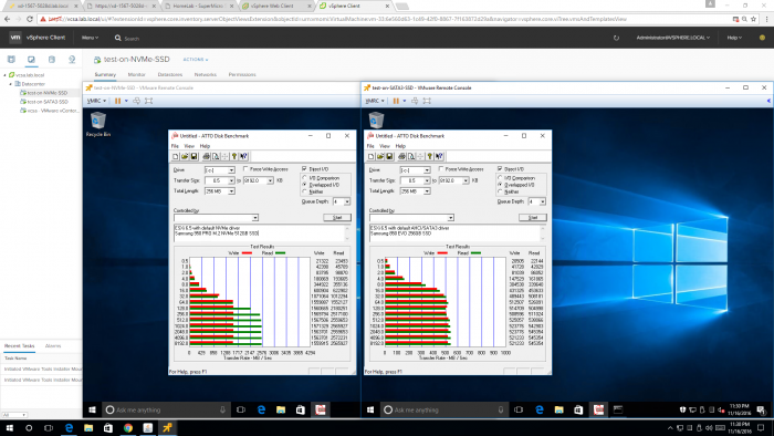 Test results for speed tests of NVMe versus SATA3 on Xeon D-1567