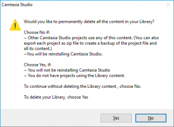 TinkerTry-screenshot-of-Camtasia-Studio-asking-Would-you-like-to-permanently-delete-all-the-contents-in-your-Library
