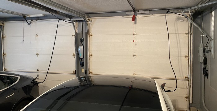 Two-Tesla-Model-3s-garaged-and-charging--TinkerTry