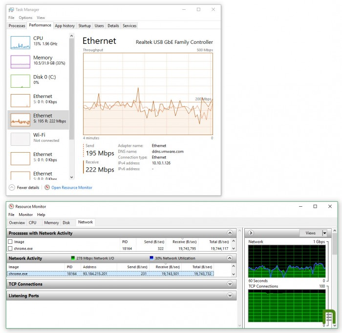 Resource-Manager-showing-222Mbps-download-from-Visual-Studio--TinkerTry