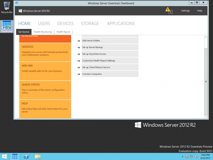 Windows-Server-2012-R2-Essentials-Dashboard-view