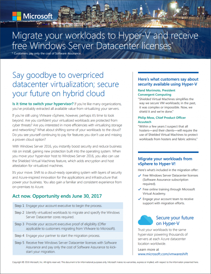 Migrate your workloads to Hyper-V and receive free Windows Server Datacenter licenses