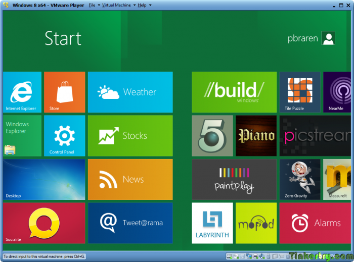 Windows8RunningInVMwarePlayer4Tiles