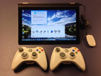 2-Xbox-360-Wireless-Controllers-with-Yoga-13-running-Windows-8.1-ready-for-gaming-fun