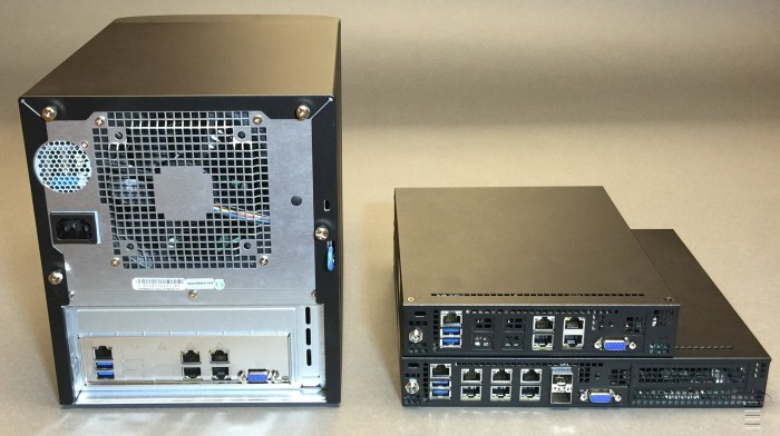 TinkerTry-rear-view-comparison-Supermicro-SuperServer-SYS-5028D-TN4T-and-SYS-E300-8D-and-SYS-E200-8D